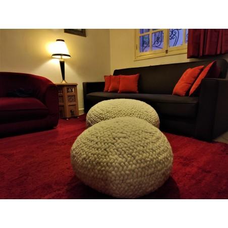 wool hand woven ottoman
