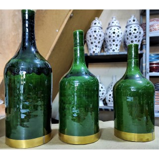 series of 3 green vases...