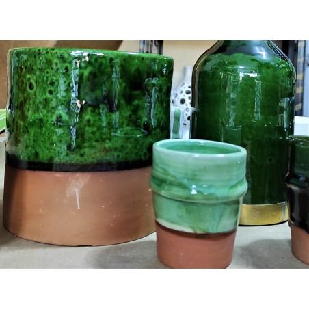 intense green terracota vase
