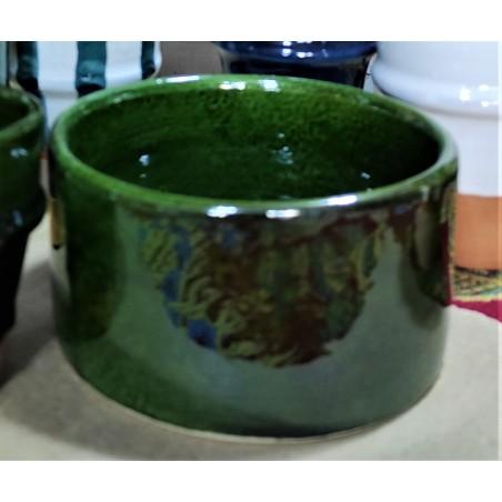 round intense green pottery...