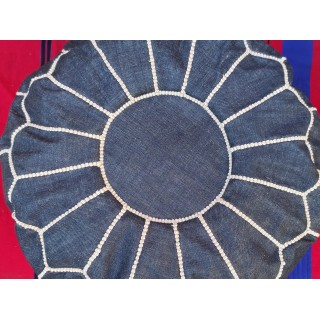 round embroidered jean ottoman