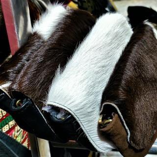 leather and fur shoulder bag