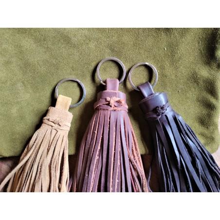 leather pompom key chain,...
